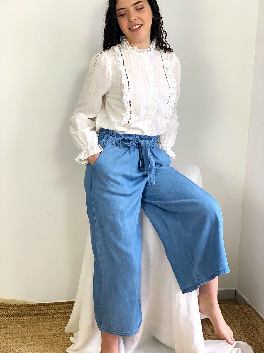 Pantalon femme Oscar, coupe droit et taille haute, couleur bleu jeans, otez mode