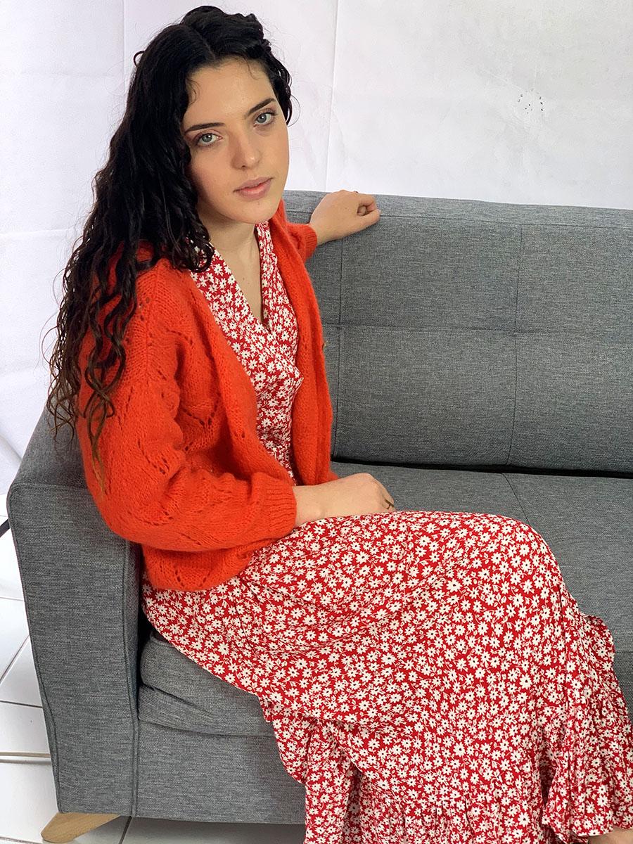 Robe fleurie rouge et blanche modèle Lucia O'tez mode