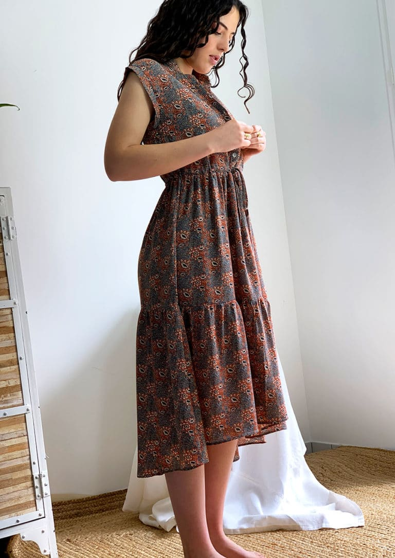 Robe fleurie orange modèle Lucy O'tez