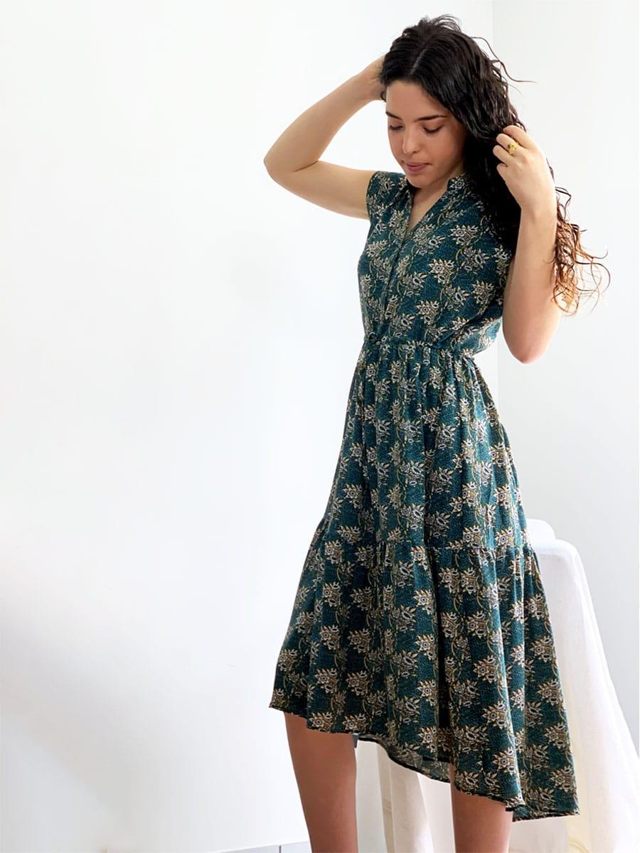 Robe fleurie verte modèle Lucy O'tez