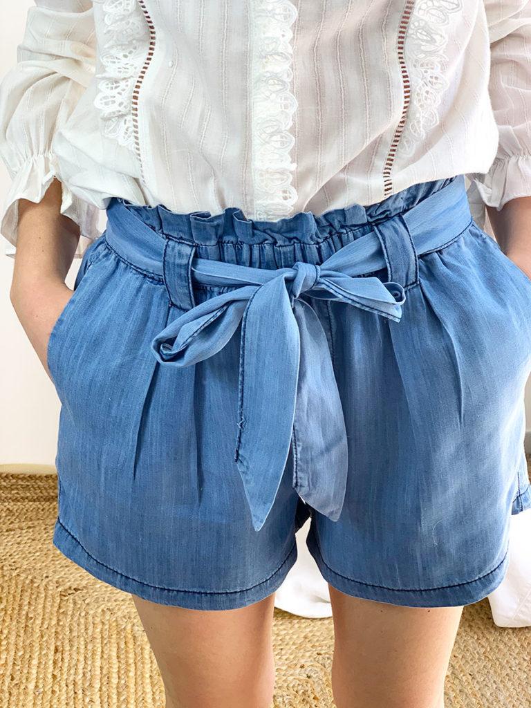 short bleu Luiz, taille haute et ample, coton et polyester, o'tez mode