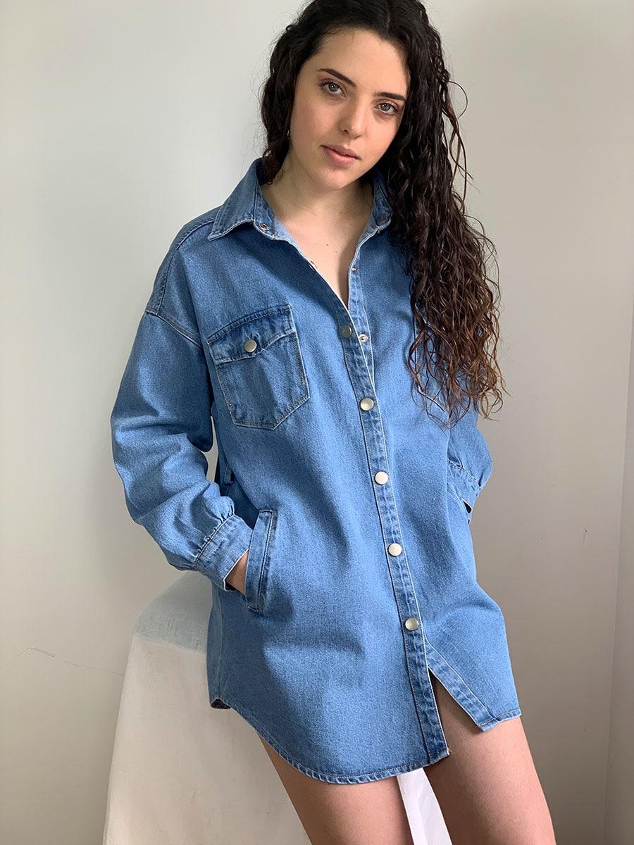 veste femme longue denim bleue modèle Aline O'tez mode
