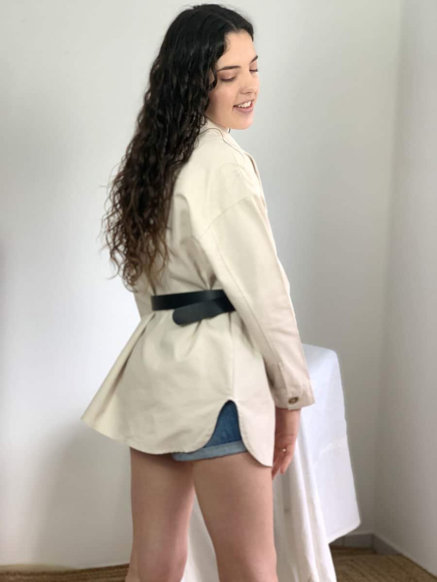 veste - chemise longue beige clair modèle Debora, O'tez mode
