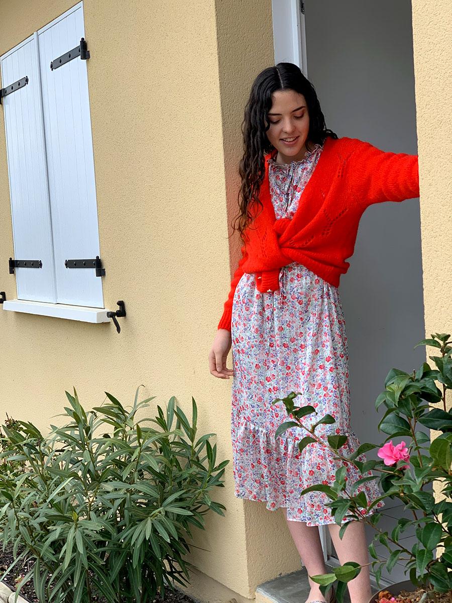 Robe fleurie rouge et blanc modèle Barbara o'tez mode