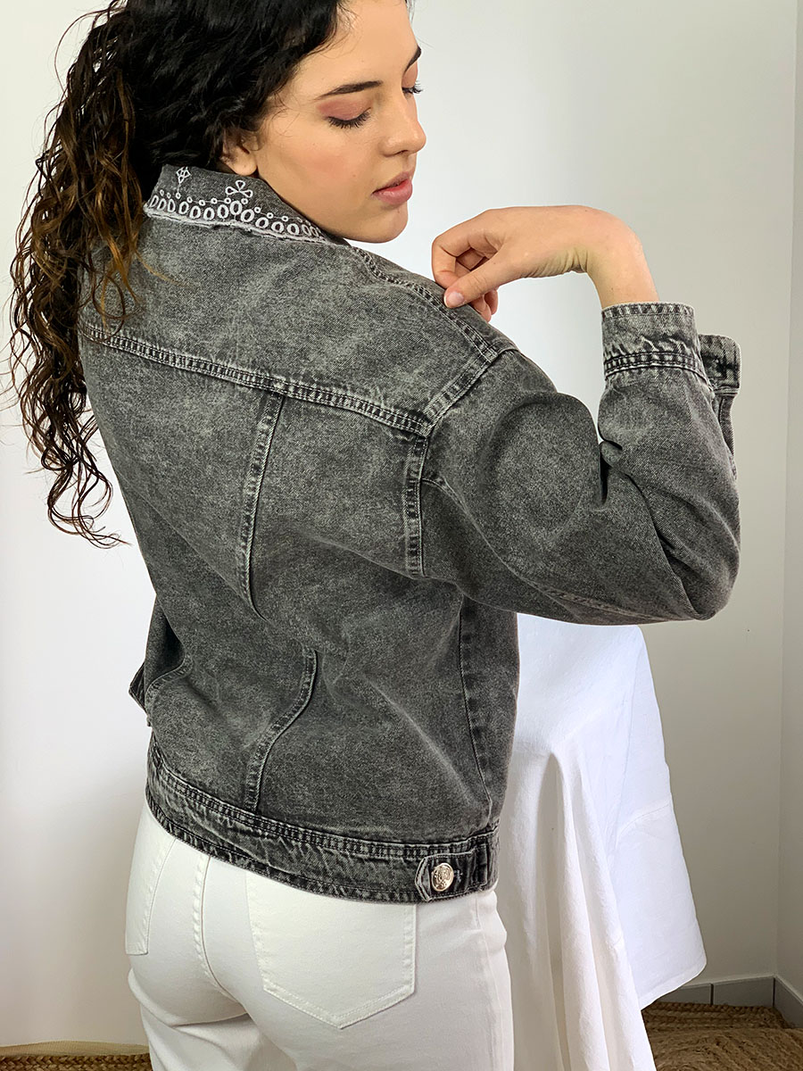 veste femme en denim noir col ouvert modèle Alex, O'tez mode