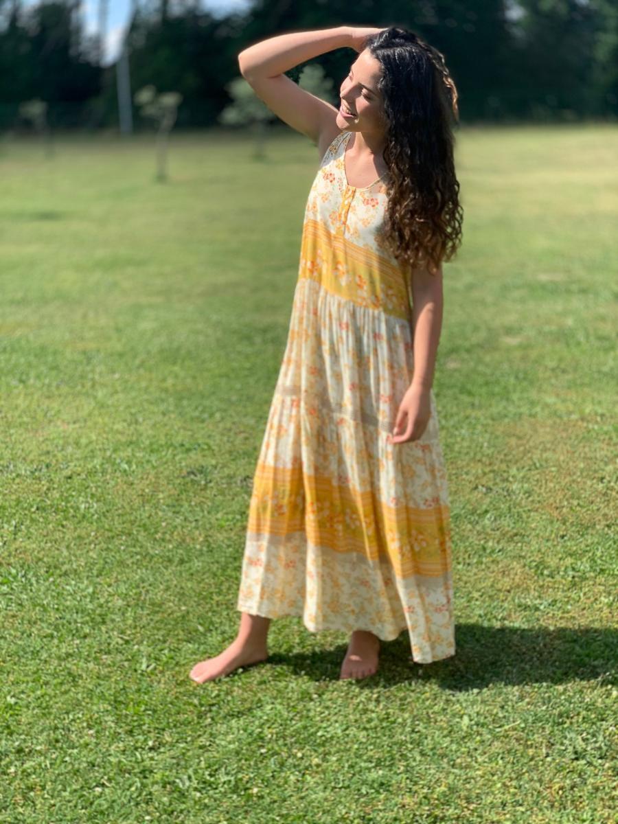 robe longue imprimée Pietra, boutique de créatrice Ô'tez mode
