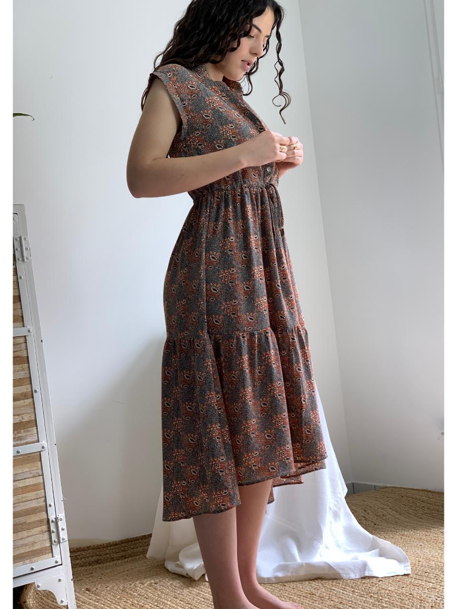Robe sans manche fleurie modele Lucy otez mode