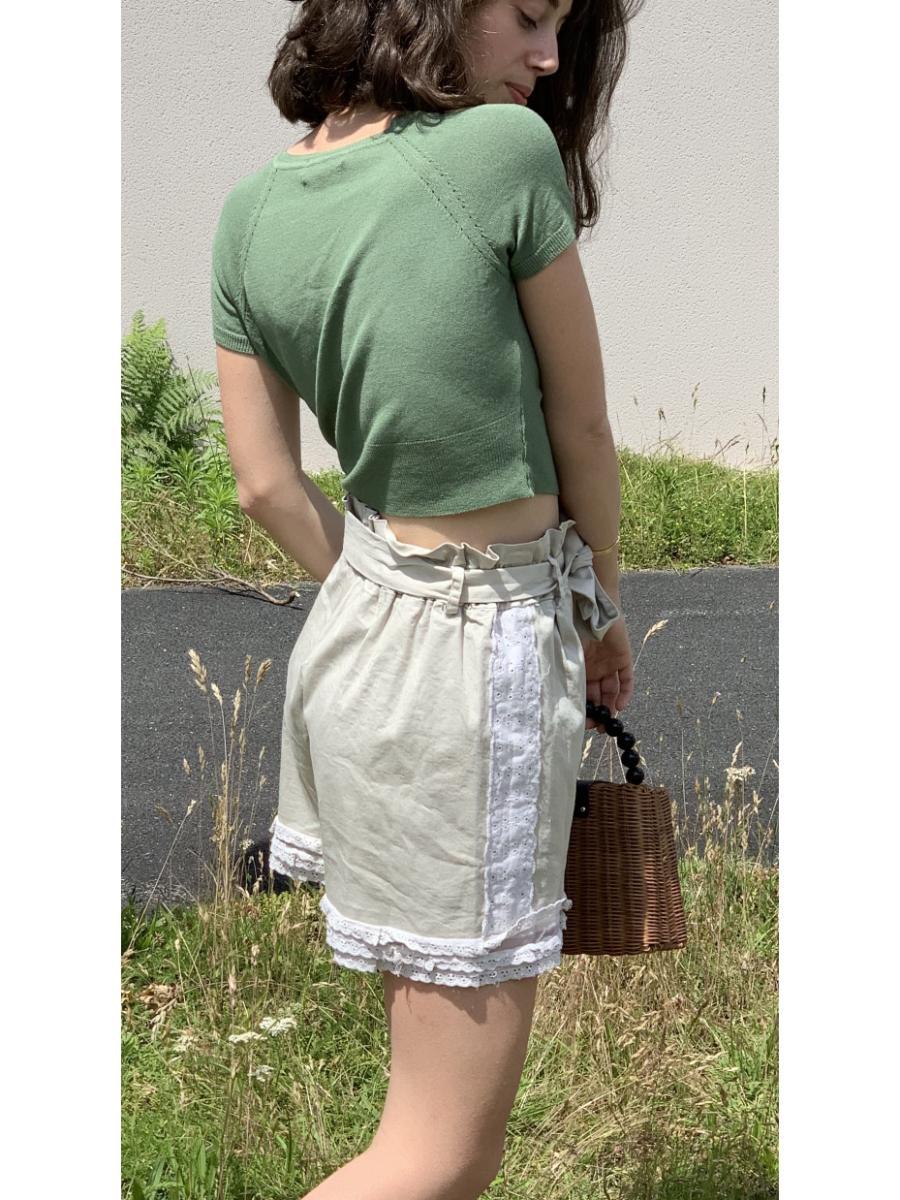 Short femme beige modèle vivi, tulle et dentelle otez mode