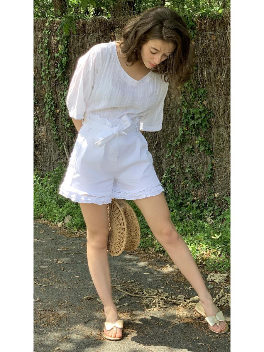 Short femme blanc modèle vivi, tulle et dentelle otez mode