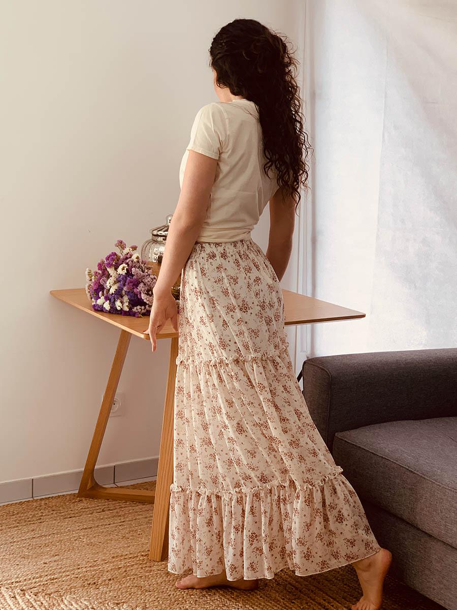 Jupe plissée beige, modèle Martine - Ô'tez mode