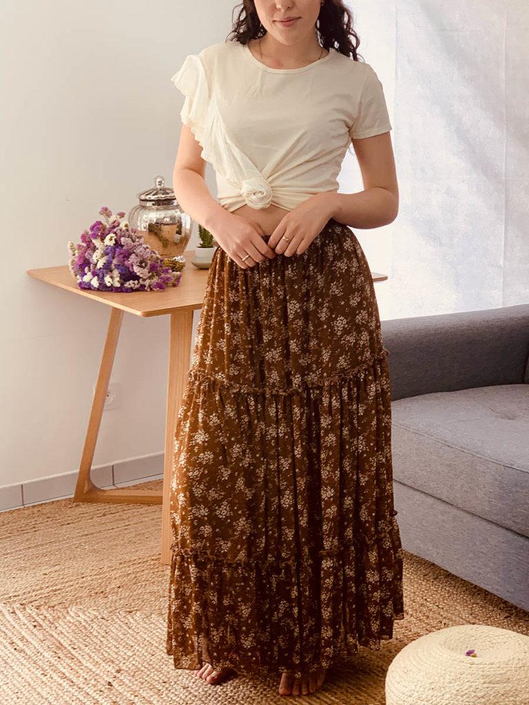 Jupe plissée marron, modèle Martine - Ô'tez mode