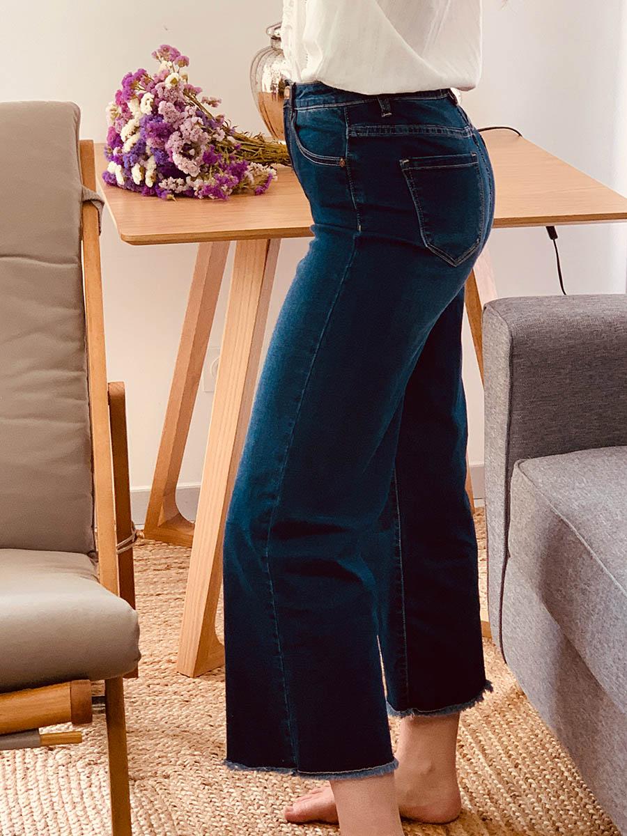 Pantalon femme jean taille haute, cropped et stretch - Ô'tez mode