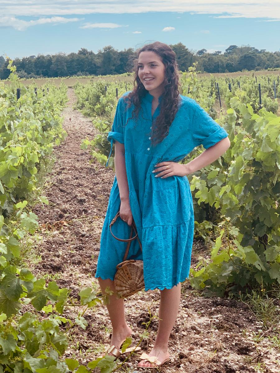 robe d'été Paula bleue, robe de créatrice par Ô'tez mode