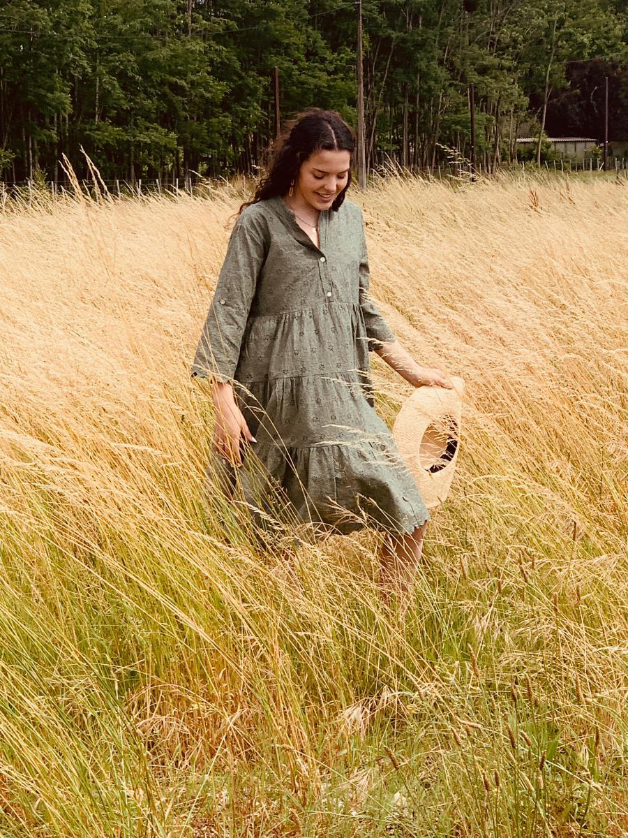 robe d'été Paula vert kaki, robe de créatrice par Ô'tez mode