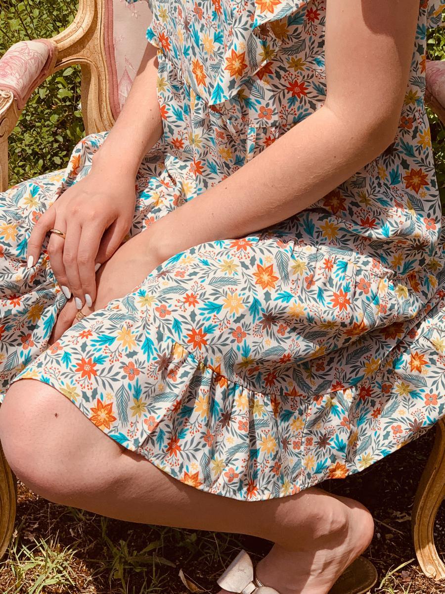 Robe malu orange imprimé fleurie créatrice de mode Ô'tez mode