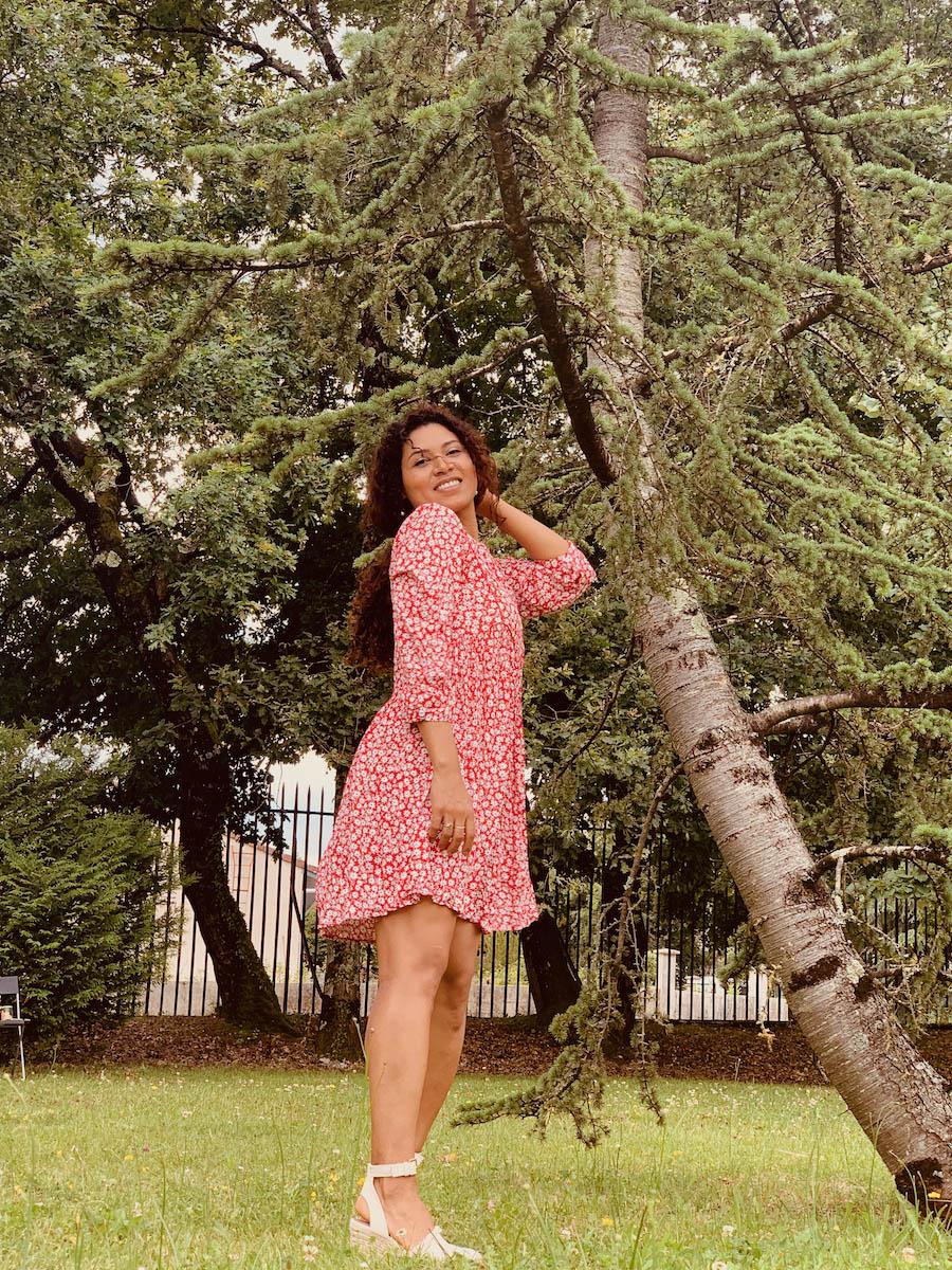 robe femme rouge imprimé fleuri